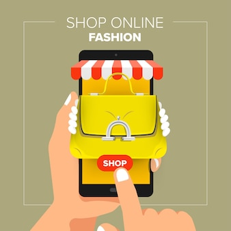 Ilustracje koncepcja płaska konstrukcja mobilny sklep internetowy. trzymaj rękę mobilną sprzedaż mody zakupy.