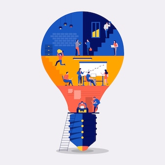 Ilustracje koncepcja płaska konstrukcja przestrzeń robocza budynek ikona żarówka