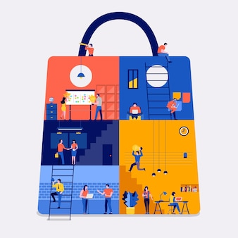 Ilustracje koncepcja płaskiej konstrukcji miejsce do pracy tworzą ikonę witryny internetowej zakupów online