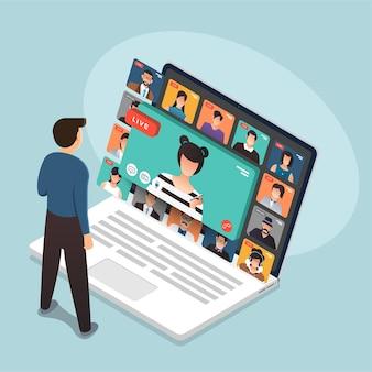 Ilustracje koncepcja płaskiej konstrukcji wideokonferencja. spotkanie online w domu. zadzwoń i wideo na żywo.
