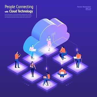 Ilustracje koncepcja projektu sieci cyfrowej z technologią chmury i rozwiązaniem usługowym