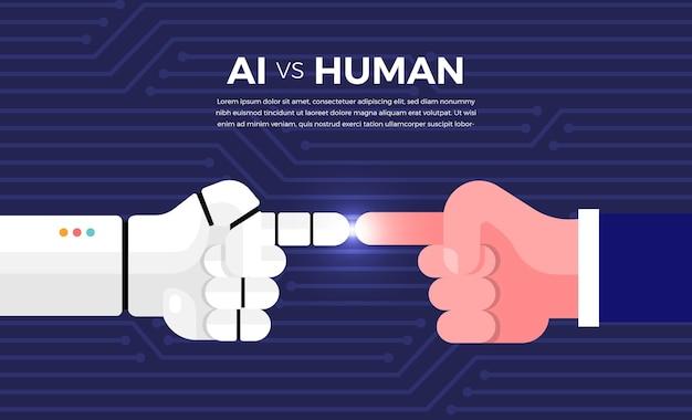 Ilustracje koncepcja sztucznej inteligencji ai kontra człowiek za pośrednictwem robota i ludzi