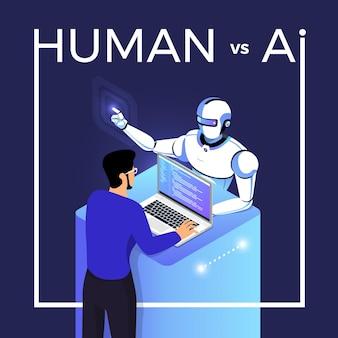 Ilustracje koncepcja sztucznej inteligencji ai kontra człowiek za pośrednictwem robota