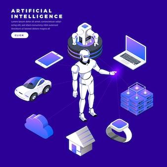 Ilustracje koncepcja sztucznej inteligencji ai