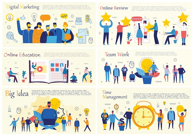 Ilustracje koncepcji biurowej ludzi biznesu w stylu płaski. e-commerce, zarządzanie czasem i projektami, start-up, koncepcja biznesowa marketingu cyfrowego.