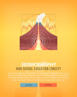 Ilustracje koncepcji edukacji i nauki. sejsmologia nauka o ziemi i strukturze planety. znajomość zjawisk atmosferycznych. transparent.