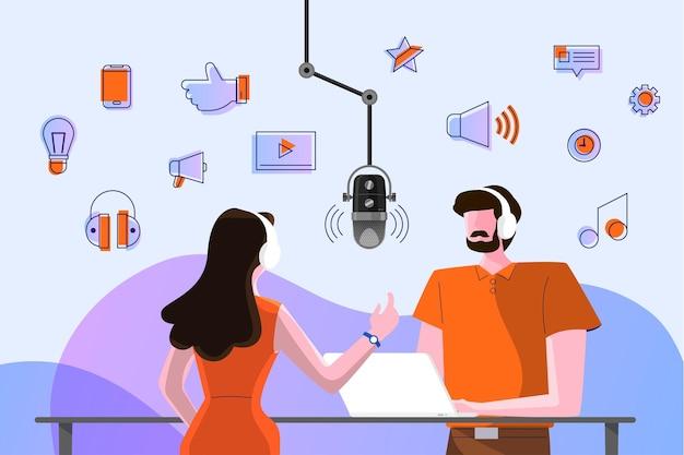 Ilustracje koncepcyjne kanał podcastowy. praca zespołowa sprawia, że podcasting.studio stół mikrofonowy transmituje ludzi. ikona radia podcast.