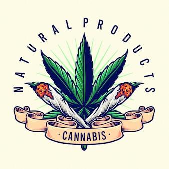 Ilustracje konopi naturalnych produktów joint smoke