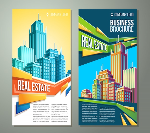 Ilustracje kreskówek, banery, tła miejskiego z krajobrazu miasta