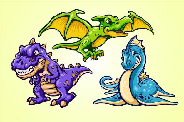 Ilustracje kreskówek dinozaurów