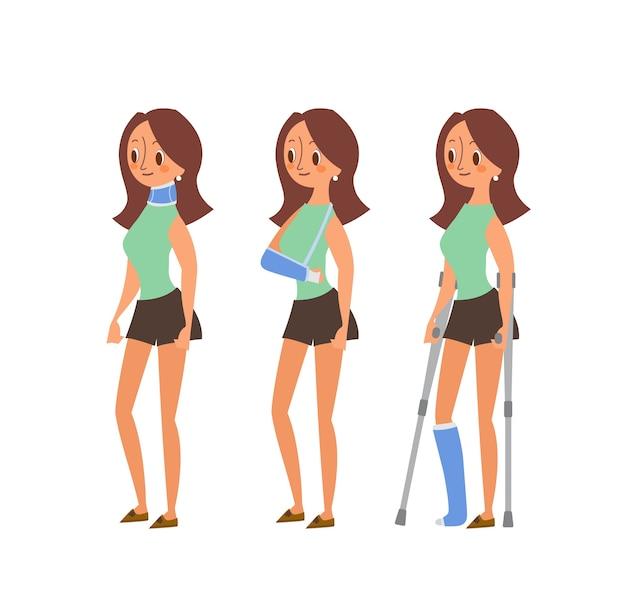 Ilustracje kreskówka rannych kobiety. kobieta ze złamanymi nogami w gipsie, urazami ramienia i szyi. znak na białym tle.