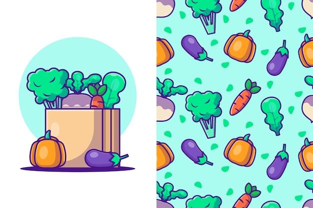 Ilustracje kreskówka warzyw z jednolitym wzorem