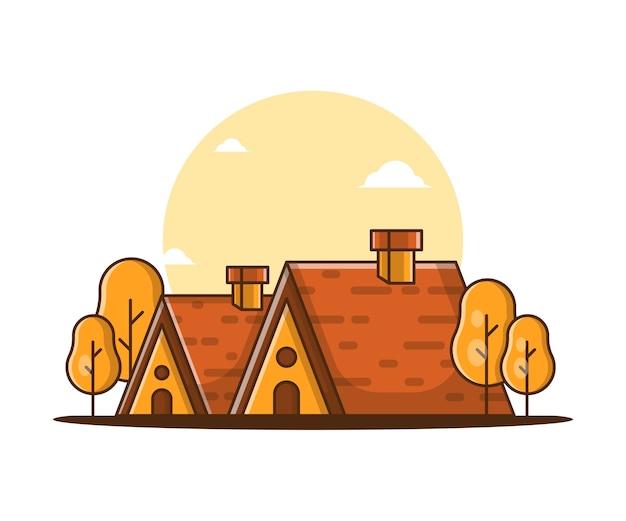 Ilustracje kreskówka wektor jesień dom. jesienna koncepcja ikony
