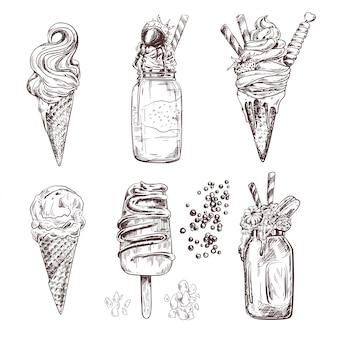 Ilustracje lodów mrożonych kremowych deserów