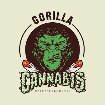 Ilustracje logo gorilla cannabis smoke