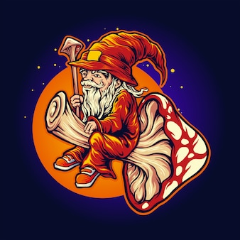 Ilustracje magic mushroom shaman mascot fly