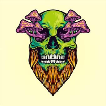 Ilustracje magiczne grzyby czaszki