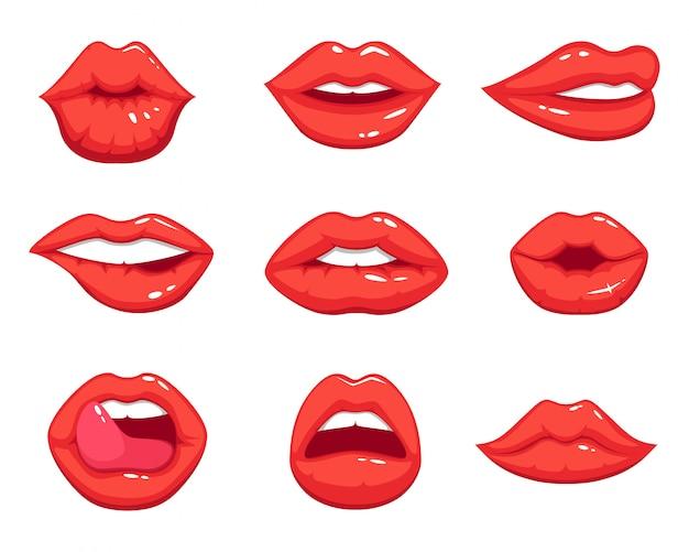 Ilustracje makijażu w stylu kreskówki. piękne uśmiechnięte seksowne żeńskie wargi