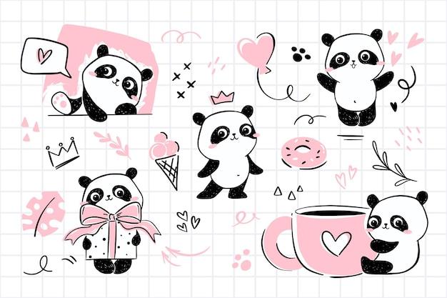 Ilustracje małej pandy z uroczą postacią pandy w różnych pozach