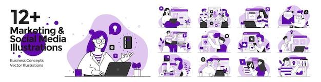 Ilustracje marketingowe i media społecznościowe ustawione w stylu płaskiej konstrukcji