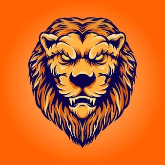Ilustracje maskotka głowa lwa vintage znaków