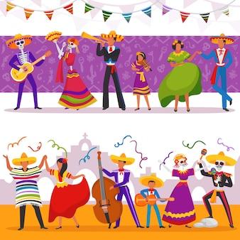 Ilustracje meksykańskich imprezowiczów, postacie grają muzykę i taniec, zestaw imprezowy zespołu fiesta