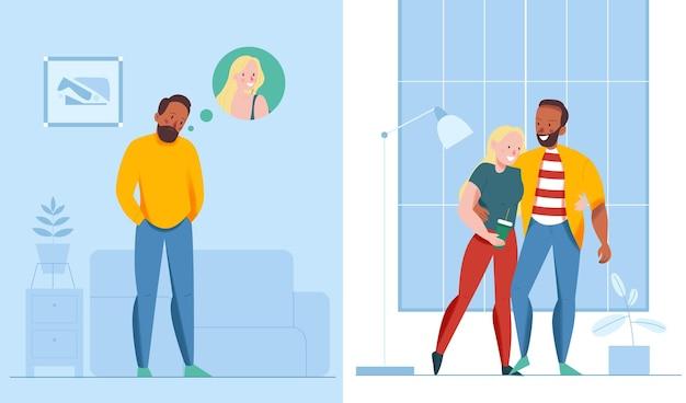 Ilustracje mężczyzny tęskniącego za kochankiem i pary spędzającej razem czas