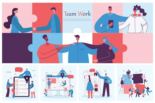 Ilustracje młodych dorosłych grup ludzi biznesu spotykających się, pracujących w centrum współpracującym. współpraca zespołowa