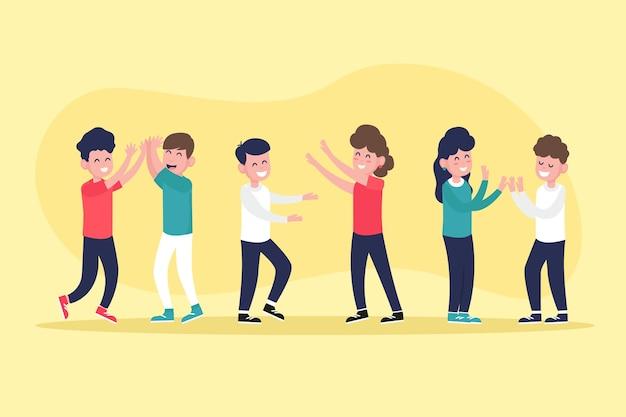 Ilustracje młodych ludzi dające piątkę