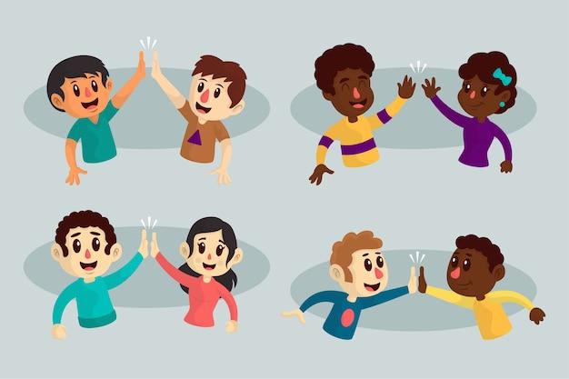 Ilustracje młodych ludzi podających piątkę