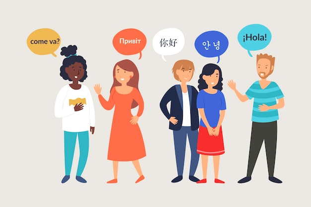 Ilustracje młodych ludzi rozmawiają w różnych językach