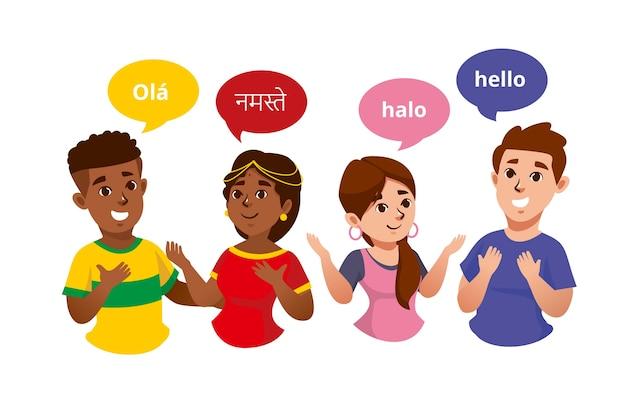 Ilustracje młodych ludzi rozmawiających w różnych językach