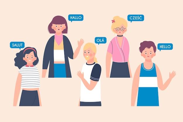 Ilustracje młodzi ludzie rozmawiają w różnych językach