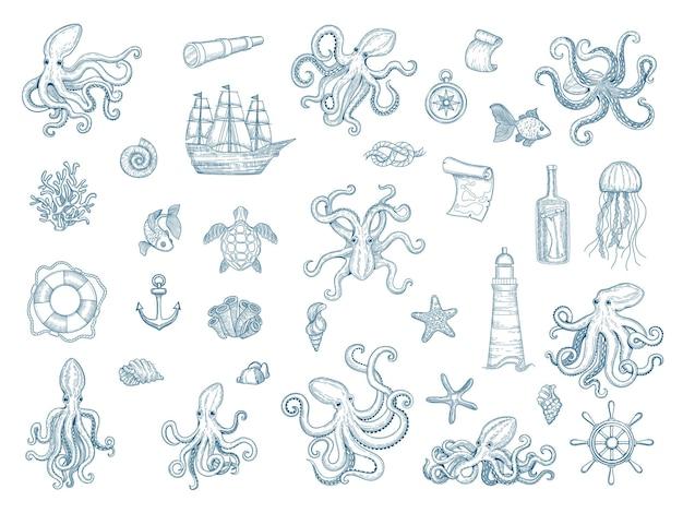 Ilustracje morskie. ośmiornica morska zestaw dzikich muszli kałamarnic potwór kraken ręcznie rysowane kolekcja.