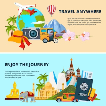 Ilustracje motywu podróży ze zdjęciami różnych punktów orientacyjnych świata