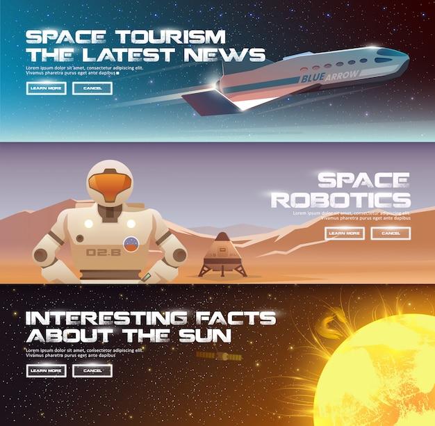 Ilustracje na temat: astronomia, lot kosmiczny, eksploracja kosmosu, kolonizacja, technologia kosmiczna. banery internetowe. kosmiczna kolonizacja. superciężkie pojazdy startowe. łazik marsjański.