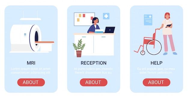 Ilustracje oddziału szpitalnego. banery medyczne na stronie internetowej aplikacji mobilnej z kreskówek, projekt interfejsu ekranu z medycznym skanerem mri, obsługa recepcji, pomoc dla niepełnosprawnych hospitalizowanych pacjentów