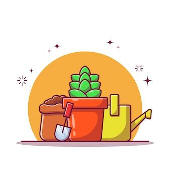 Ilustracje ogrodnicze narzędzia ogrodnicze, konewka, torba na nawóz, doniczka i roślina.