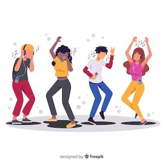 Ilustracje osób słuchających muzyki i tańczących