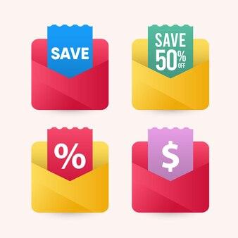 Ilustracje oszczędzania pieniędzy dzięki szablonowi projektu koperty.