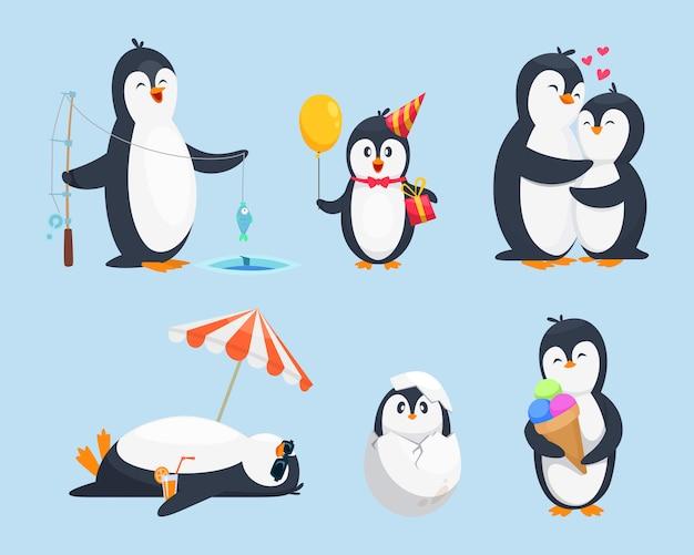 Ilustracje pingwinów dziecięcych w różnych pozach. obrazki z kreskówek wektorowych