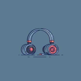 Ilustracje płaska konstrukcja zestawu słuchawkowego