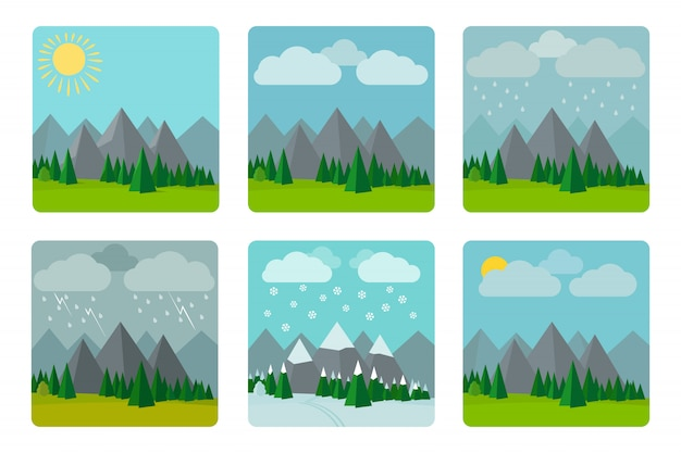 Ilustracje pogodowe w stylu płaskiej
