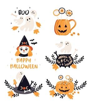 Ilustracje pozdrowienia halloween.