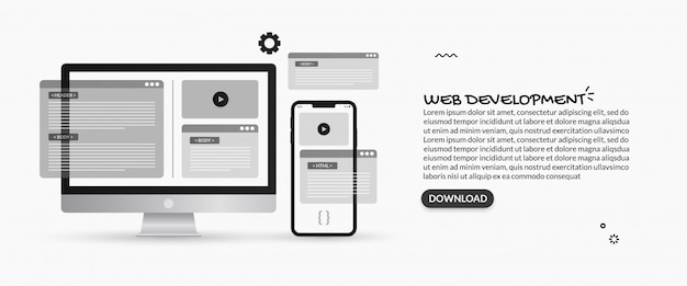 Ilustracje programowania i tworzenia stron internetowych, koncepcja projektowania ux ui