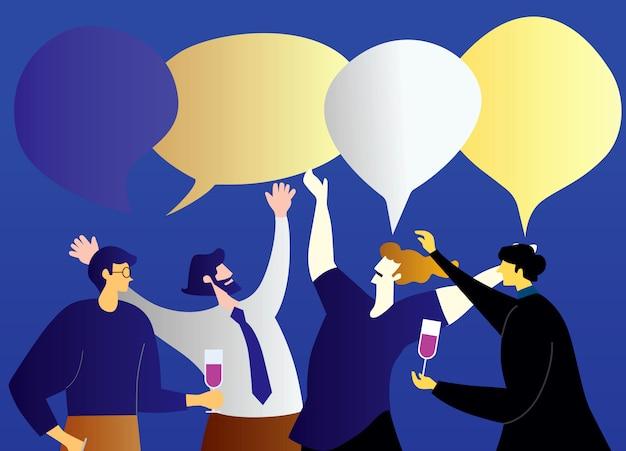 Ilustracje projekt koncepcja spotkanie biznesowe i dyskusja dowcip pracy zespołowej.