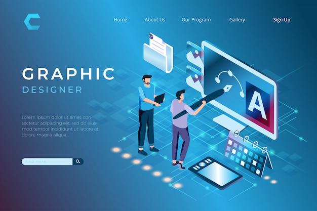 Ilustracje projektanta graficznego przy pracy nad projektami, projektowanie grafiki w izometrycznym stylu 3d
