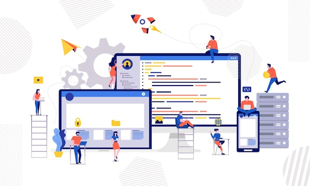 Ilustracje projektanta lub programisty kod i strona internetowa