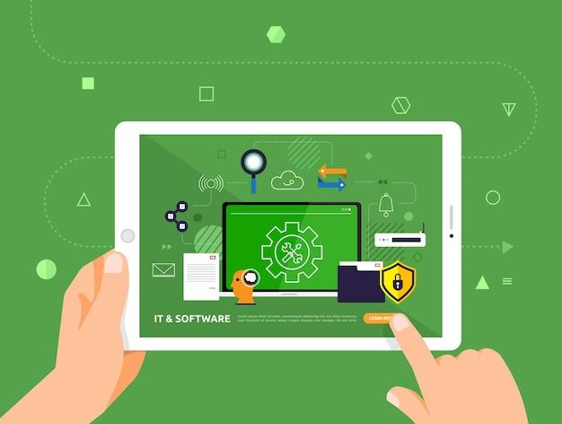 Ilustracje projektują e-learning za pomocą kliknięcia ręką na tablecie kurs online it i oprogramowanie