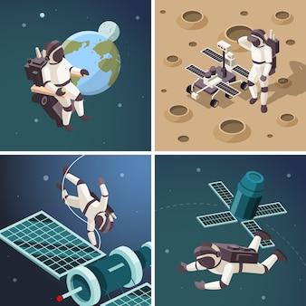Ilustracje przestrzeni. astronauci na zewnątrz planety na orbicie kosmicznej pływający statek kosmiczny odkrycie wszechświata izometryczne tła
